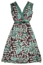 TOAST Size 8 Green Brown Leaf Print 100% Silk Midi Dress Wrap-Top V-Neck Summer