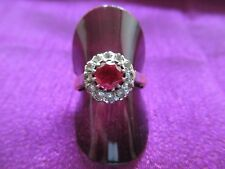 Gold 9ct red and white stones,classic cluster ring. Size S1/2