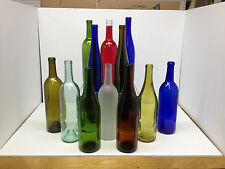 12 Assorted Glass Wine Wedding Centerpiece Bottles Cobalt Red Green Yellow Frost