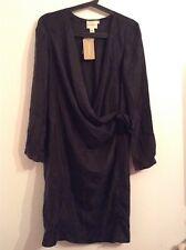 BNWT 100% Auth DKNY Pure, Luxury Black Wraped 100% SILK  Dress. S RRP $660.00