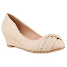 Damen Keilpumps Lederoptik Pumps Wedges Keil Absatz 811016 Schuhe
