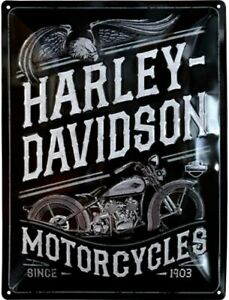 Harley Davidson Motorcycles (23301) large embossed metal sign 400mm x 300mm (na)