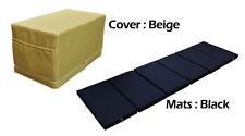MULTI PURPOSE S.LEATHER MAGIC BOX YOGA GYM CUSHION FOLDABLE MATS BEIGE COLOR