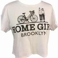 Teenage White Home Girl Logo Cropped T-Shirt Top Roll Short Sleeve