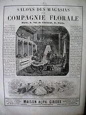 PUBLICITE DE PRESSE COMPAGNIE FLORALE FLEURS ARTIFICIELLES ART FLORAL AD 1866