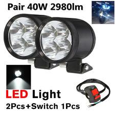 1 Pair 40W U22 Motorcycle Work LED Spot Driving Fog Light Headlight Lamp+Switch