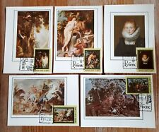 Russia 1977 Set Of 5 Maxi Cards With Stamps - Rubens Paintings
