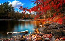 CALM LAKE BRIDGE TREES RED LEAVES FOREST BLUE SKY WALL ART CANVAS PICTURE PRINTS