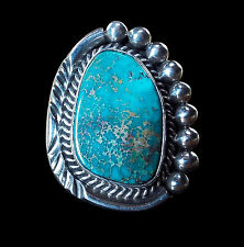 Turquoise and Sterling Ring with Heavy Dots - Navajo Handmade