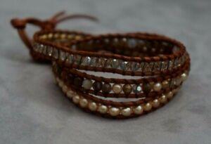 NEW Chan Luu Pearl Semi Precious Stone Swarovski Crystal Mix 3 Wrap Bracelet
