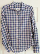 NWT Abercrombie Womens XS Blue Beige Checker Plaid Long Sleeve Button Up Shirt
