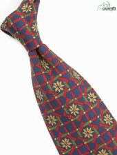 "Paul Stuart Dark Blue Silk Tie w/ Multi-Colored Floral Plaid Design 3.5"" Wide"