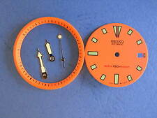ORANGE Dial Hands Minute Marker Ring SET NEW made for  SEIKO DIVER 7002