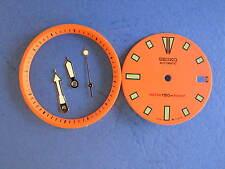 - SEIKO DIVER 7002 ORANGE Dial Hands Minute Marker Ring SET NEW