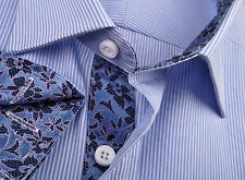 Mens Blue Formal Business Dress Shirt Striped Egyptian Cotton Sexy Hawaii Floral