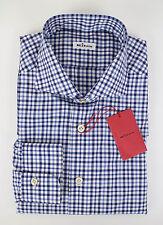 NIB KITON NAPOLI Blue Check Cotton Slim Fit Dress Shirt Size 17 US 43 EU $750
