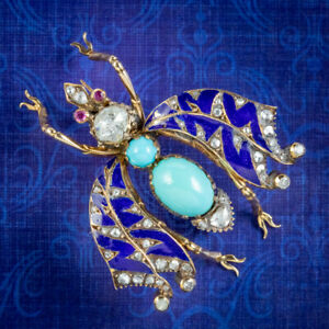 ANTIQUE VICTORIAN TURQUOISE DIAMOND ENAMEL INSECT BROOCH CIRCA 1900