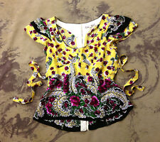 Nanette Lepore Yellow Sequin Embellished Silk Floral Summer Blouse Shirt Top 6 S