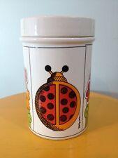 Vintage Pop Art Ladybug Flowers Storage Jar Canister (BC)