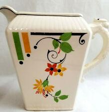 Harker Pottery Tea Pot Kettle Pitcher Mid-Century Art Deco White & Flower Design