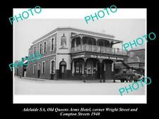 Old Postcard Size Photo Of Adelaide Sa Queens Arms Hotel Wright St 1940