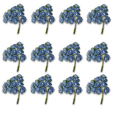 Craft Flowers -12mm Qty x 144 Mini Mulberry Paper Rose - Blue