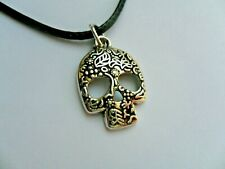 Mexican day Of The Dead Sugar Skull  Leather Necklace