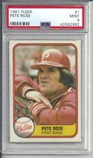 1981 Fleer Pete Rose #1 PSA 9 Mint Baseball Card.