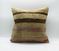 Handmade Turkish Decorative Vintage Kilim Pillow Cover 18'' X 18'' (45x45 cm )