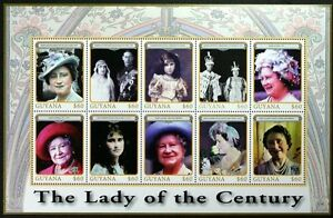 """T378 GUYANA The Queen Mother, """"The Lady of the Century"""" MiniSheet Mint NH"""
