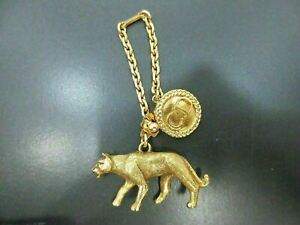 Authentic Excellent Christian Dior Bag Charm Leopard Motif Gold Plated 90542