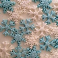 Snowflakes White & Light Blue  With Edible Sparkles Cake Cup Cake Toppers X 20