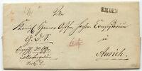 """HANNOVER """"EMDEN"""" schwarzer L1 a. austaxierter Pra.-Brief nach AURICH, 1843"""