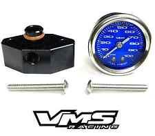 "VMS 05-10 MUSTANG 1 1/2"" 100PSI BLUE FUEL PRESSURE GAUGE LIQUID FILLED ADAPTER"