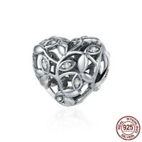 925 Sterling Silver Tree of Leaves Heart Charm Beads Valentine's Day Gift