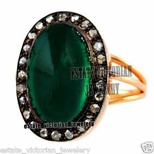 Vintage Estate 0.86Cts Rose Cut Diamond Emerald Jewelry 925 Sterling Silver Ring