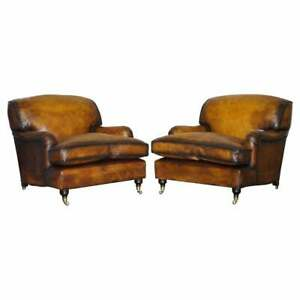 PAIR OF RESTORED VINTAGE CIGAR BROWN LEATHER ARMCHAIRS GEORGE SMITH HOWARD
