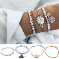 Fashion 4Pcs/Set Fashion Women Boho Heart Beads Bracelet Bangle Chain Jewelry