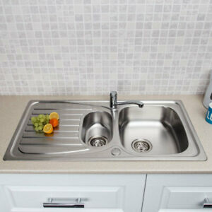 Stainless Steel Kitchen Sink Inset 1.5 Bowl Reversible Drainer + FREE Wastes