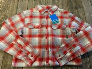 NWT Mens Columbia Sportswear Red/Gray Flannel Button Front Shirt Size Small