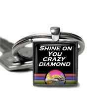 Pink Floyd Keyring Shine on you crazy diamond Silver plated handmade Keyring