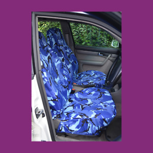 Front Car Van Blue Camo Waterproof LARGE Universal Airbag Compatible Seat Covers