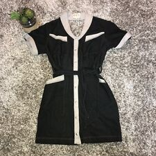Sea NEW YORK Dress Black/Gray Belted Cutout Size 6 Snap Front Open back