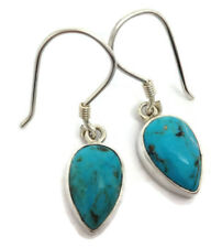 Natural Turquoise pear Drop Earrings Solid Sterling Silver, Actual Ones. UK