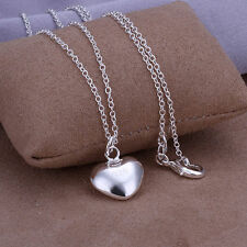 STERLING SILVER PLATED 925 3D PUFFY HEART PENDANT NECKLACE FASHION JEWELRY 18""