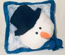 3-D Snowman Pillow Blue 15'' Square Winter Stuffed Throw Toss Snow