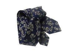 Cravatta slim blu a fiori beige militare cravatte retro style raffinate