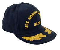 Vintage USS North Carolina BB 55 Pro Model Navy Blue Snapback Patch Hat USA
