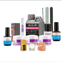 Nail Art Set Kit Acrylic Powder Liquid Block UV Gel Sanding File Pen Glass Kit ❤