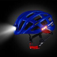 RockBros Road Bike Night Ultralight Helmet USB Recharge Size 57-62CM Blue Color